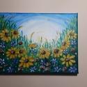 Virágos rét, Otthon & lakás, Képzőművészet, Festmény, Akril, Festészet, 18x24 cm-es feszített vászonra készített akril festmény. Keretezést nem igényel., Meska