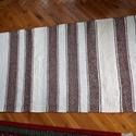 Rongyszőnyeg barna nyers, Otthon, lakberendezés, Lakástextil, Szőnyeg, Falvédő, Szövés, Barna és nyers váltakozó szélességűl csíkos szövött szőnyeg. Mérete 155*72 cm. A szőnyeg hagyományo..., Meska