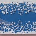 Esküvői album - vendégkönyv (kék-fehér) - lánybúcsú -  egyedi áttört szívmintás, Esküvő, Naptár, képeslap, album, Nászajándék, Fotóalbum, Papírművészet, (Nézz körül Milevi boltomban is.)  Az áttört szívmintával díszített album esküvői ajándék lehet a l..., Meska