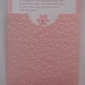 A legkedveltebb meghívóforma: egyedi,  tasakos -  nemcsak  rózsaszínben - esküvőre,eljegyzésre,babaszületésre, Esküvő, Naptár, képeslap, album, Baba-mama-gyerek, Meghívó, ültetőkártya, köszönőajándék, Papírművészet, (Nézz körül Milevi boltomban is.)  Rózsaszín virág dombormintával díszített tasakos meghívó esküvőr..., Meska