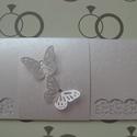 Nászajándék boríték - ajándékkísérő kártyával -  lepke   - 20x10 cm  13., Esküvő, Naptár, képeslap, album, Nászajándék, Ajándékkísérő, Papírművészet, (Nézz körül Milevi boltomban is.)  Egyedi (lepke) díszítéssel, fehér fényes scrapbook  kartonból ké..., Meska