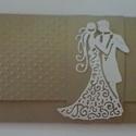 Nászajándék boríték  - ifjú pár - (ajándék/élmény-utalvány átadó)  ajándékátadó kártyával, Esküvő, Naptár, képeslap, album, Nászajándék, Ajándékkísérő, (Nézz körül Milevi boltomban is.)  Egyedi díszítéssel arany gyöngyházfényű kartonból kés..., Meska