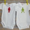 IKREKNEK! Gyalogos lámpás babaruhák, Ruha, divat, cipő, Baba-mama-gyerek, Gyerekruha, Baba-mama kellék, Ez az összetartozó babaruha különleges ajándék iker babáknak.  A 100% pamut fehér bodyra(C&A)  piros..., Meska
