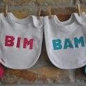 IKREKNEK! Bim-Bam előkék -  ajándék ikreknek, Baba-mama-gyerek, Ruha, divat, cipő, Baba-mama kellék, Gyerekruha, Ez az összetartozó iker előkepár különleges ajándék 0-2 éves korig, melyet fiú-lány ikreknek tervezt..., Meska