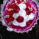Csokor, Anyák napja, Ballagás, Dekoráció, Csokor, Virágkötés, Mindenmás, Általam kézzel készített rózsa csokor, a hossza 30 cm, átmérője 34 cm, 11 db kézi hajtású szatén ró..., Meska