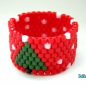 Karácsonyfás gyűrű, Ékszer, Gyűrű, Peyote technikával készítettem ezt a karácsonyi hangulatú (fenyőfa, hóesés zöld, fehér és piros szín..., Meska