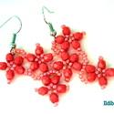 Cikk-cakk virágos fülbevaló korall színben, Ékszer, Fülbevaló, Ballagás, Korall színű 4 mm-es csiszolt üveggyöngyből és cseh kásából formázott virágokból áll ez az 5 cm hoss..., Meska