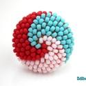 Spirálos 3 színű kerek gyűrű - 42. verzió, Ékszer, Gyűrű, ÚJ színösszeállítás! Matt türkiz, halványpiros és fehér színű kásagyöngyökből készítettem el ezt a s..., Meska