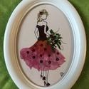 Kisasszony csokorral 22cm 17cm, Otthon, lakberendezés, Falikép, Préseltvirág kép, fa kerettel, üveglap alatt, Meska