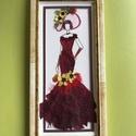 Hölgy kalapban 13cm24cm, Dekoráció, Otthon, lakberendezés, Kép, Falikép, Saját gyűjtésű nemes virágokból készített fali dekoráció, Meska