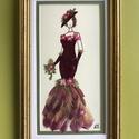 Kisasszony 7. 11cm21cm, Dekoráció, Otthon, lakberendezés, Kép, Falikép, Saját gyűjtésű nemes virágokból készített fali dekoráció, Meska