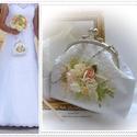 Menyasszonyi táska és gyűrűpárna. Barackvirág szín. Menyasszonyi ruha  vagy csokor színeihez tervezve., Esküvő, Táska, Esküvői dekoráció, Gyűrűpárna, Ez a szett nem megvásárolható, kérésedre, tudásom határain belül Neked is készítek hasonló táskát  é..., Meska
