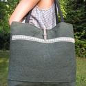 Női táska zöld szövet, zöld mintás pamut béléssel, Táska, Válltáska, oldaltáska, Elegáns , erős női táska.  Anyaga bútorszövet és pamutvászon. A jó tartás érdekében köz..., Meska