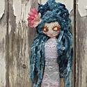 Türkízhajú sellőlányka, mermaid doll, Baba-mama-gyerek, Dekoráció, Otthon, lakberendezés, Lakástextil, Baba-és bábkészítés, Hímzés, 45 cm hosszú és kb 10 cm széles , saját kútfőből merített sellőlányka kisebb és nagyobbacska hölgye..., Meska