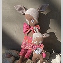 Őzmama gidájával , Deer doll, Bambi , Szarvas, Baba-mama-gyerek, Otthon, lakberendezés, Dekoráció, Baba-és bábkészítés, Varrás, Őzmama méretei : 56 cm hosszú, 15 cm széles , vatelinnel töltött csudaság .... Testére vart narancs..., Meska
