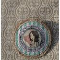 Textil kitűző 1. , Dekoráció, Ruha, divat, cipő, 10 cm-es textilkitűző ide-oda-amoda ., Meska
