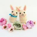 Húsvéti nyuszi, Gyerek & játék, Otthon & lakás, Dekoráció, Ünnepi dekoráció, Nemezelés, Tűnemezeléssel készült gyapjú nyuszi húsvéti dekorációnak, apró ajándéknak. A nyuszi bundájának és ..., Meska