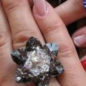 Silver night swarovski szívecskés gyűrű, Ékszer, óra, Gyűrű, A gyöngyörű vízililiomok ihlették ezt a 3,5 cm átmérőjű, gyöngyörű, szikrázó gyűrűt...., Meska