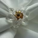 Crystal flower - kristály virág swarovski gyűrű, Ékszer, óra, Gyűrű, Egy igazi letisztult, kristályosan csillogó virágot kínálok most megrendelésre - egészen röv..., Meska