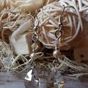 swarovski fülbevaló - Black diamond színben, Ékszer, óra, Fülbevaló, A képen látható fülbevaló swarovski mini csepp formájú kristállyal, biconnal és swarovski i..., Meska