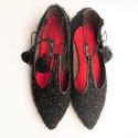 Bojtos balerina, Ruha, divat, cipő, Cipő, papucs, Bőrművesség, Kézzel készült , lapos sarkú textil cipő , lakkbőr szegéllyel , bőr béléssel , selyem bojtos fűzőve..., Meska