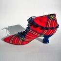 Kockás cipő, Ruha, divat, cipő, Cipő, papucs, Bőrművesség, Kézzel készült , kockás szövet cipő , bogyós szegéllyel , bőr béléssel , gumi talppal , bársony sar..., Meska