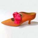 Masnis papucscipő, Ruha, divat, cipő, Cipő, papucs, Bőrművesség, Kézzel készült , textil magassarkú papucscipő bőr béléssel , bőr talppal . Különböző színű szalagok..., Meska