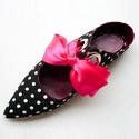 Pöttyös papucscipő, Ruha, divat, cipő, Cipő, papucs, Bőrművesség, Kézzel készült , lapos sarkú , pöttyös textil papucscipő , bőr béléssel , gumi talppal . Különböző ..., Meska