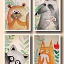 Babaszoba dekoráció , Dekoráció, Baba-mama-gyerek, Képzőművészet, Festmény, Egyedi, kézzel készült 4 db akvarell képből álló gyerek-baby szoba dekoráció . Mérete kép..., Meska