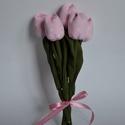 Tulipán csokor  rózsaszín- fehér apró virágos, Baba-mama-gyerek, Dekoráció, Csokor, Varrás,  Lilás rózsaszín francia anyagból készült kedves kis csokor. A szárak erős, egyenes szívószálból va..., Meska