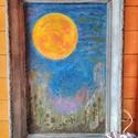 Festett kép antikolt vintage képkeretben, Dekoráció, Otthon, lakberendezés, Falikép, Festett tárgyak, Régi újrafestett képkerthez készült a festett kép Méret: 53x83 cm  , Meska