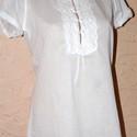 Gyönyörű fehér gézblúz , Ruha, divat, cipő, Kismamaruha, Női ruha, Blúz, Varrás, Fehér, 100%pamut voile anyagból készítettem ezt a szép blúzt. Elejét szintén fehér pamutcsipkével d..., Meska