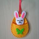 Nyuszi tojásban, Dekoráció, Játék, Húsvéti díszek, Ünnepi dekoráció, Varrás, Gyerekeknek szép ajándék húsvétra, vagy akár alvókának, játéknak is alkalmas. A nyuszis tojás filcb..., Meska