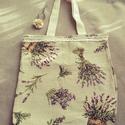 Vintage levendulás táska, Táska, Szatyor, Varrás, Levendula mintás, vintage hangulatú bevásárló táska. Erős  mintás bútorszövetből vartam, a füle vál..., Meska