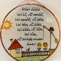 Házi áldás népmesés stílusban - Üveg, Üvegkép, Dekoráció, Otthon, lakberendezés, Férfiaknak, Hagyományőrző ajándékok, Festett tárgyak, Üvegművészet, Üvegre festett, rézfóliával keretezett kép.  Savmart üvegre festve: +200 Ft  Nagy Attila grafikája ..., Meska