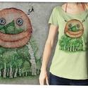 """Erdővédő púderzöld színű lezser női pólón, Táska, Divat & Szépség, Otthon & lakás, Női ruha, Ruha, divat, Póló, felsőrész, Képzőművészet, Ez a póló """"Meghívott grafikusok"""" sorozatunk része, azaz a grafikát nem mi, hanem egy vendég készítet..., Meska"""