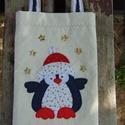 Pingvin karácsonya, Táska, Laptoptáska, Pénztárca, tok, tárca, Szatyor, Patchwork, foltvarrás, Varrás, Bélelt ajándéktasak vagy táblagép tárolására is alkalmas szatyor, tok. Mérete 18 x 26cm, a fül 2,5 ..., Meska