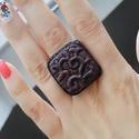 Dombormintás gyűrű, Ékszer, Gyűrű, Süthető gyurmából készült domborúmintás gyűrű állítható gyűrűalapon. , Meska