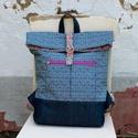 Modern hátizsák - Visszahajtott tetejű (Amy Butler), Táska, Hátizsák, Modern, tágas hátizsák minőségi patchwork anyagok (Amy Butler) izgalmas kombinációjával, merevítővel..., Meska