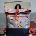 Modern hátizsák - Visszahajtott tetejű (szürke-narancs), Táska, Hátizsák, Modern, tágas hátizsák minőségi patchwork anyagok (Moda) izgalmas kombinációjával, merevítővel a jó ..., Meska