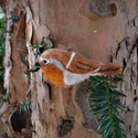 Tűnemez madár bross - nemez vörösbegy kitűző, Ékszer, Dekoráció, Bross, kitűző, Dísz, Nemezelés, Egyedi kézzel készített tűnemez madárka bross, gyöngy szemmel.  A bross (kitűző) sokoldalúan viselh..., Meska