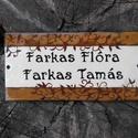 Egyedi tűzzománc névtábla - elegáns/növényi indás , Otthon, lakberendezés, Utcatábla, névtábla, Egyedi tűzzománc névtábla, szolid növényi indás motívummal, megrendelésre készül. Mérete: 7,5 x 15 c..., Meska
