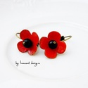 Poppy - tűzzománc fülbevaló, Vörösrézlemezből kivágott alapra készült, k...