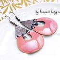 Kadarta -  tűzzománc fülbevaló (világos rózsaszín), Ékszer, óra, Fülbevaló, Ékszerkészítés, Tűzzománc, Elegáns, nőies, könnyű viselet. A fülbevaló teljes egészében vörösrézből készült, az alapot formára..., Meska