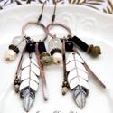"""Tribal - Tollas tűzzománc fülbevaló, Ékszer, óra, Fülbevaló, Ékszerkészítés, Tűzzománc, Extra hosszú ún. """"tribal"""" (törzsi) jellegű """"tollas"""" fülbevaló 100%-ban saját kezemmel készült :) Vö..., Meska"""