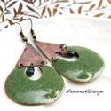 Kadarta -  tűzzománc fülbevaló (oliva), Elegáns, nőies, könnyű viselet. A fülbevaló ...
