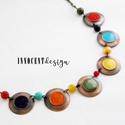 Minimál - szivárvány nyaklánc - tűzománc-réz, Ékszer, Karkötő, Egyszerű, mégis mutatós nyaklánc a minimalista stílus kedvelőinek.  Minden részét magam készítettem ..., Meska