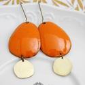 Béka -  tűzzománc fülbevaló (narancssárga), Vörösrézlemezből kivágott domborított formá...