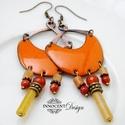 Karola - tűzzománc fülbevaló  (narancssárga), Elegáns, nőies, könnyű viselet. A fülbevaló ...