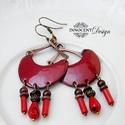 Karola - tűzzománc fülbevaló (bordó), Ékszer, Fülbevaló, Elegáns, nőies, könnyű viselet. A fülbevaló teljes egészében vörösrézből készült, a vörösréz alapot ..., Meska